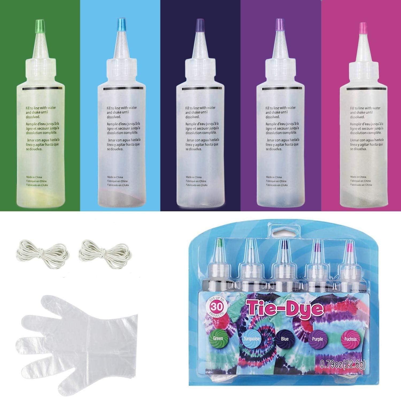 5 colores Tie Dye Kit,Kit de teñido permanente para teñir camisetas,camisa tela tinte con bandas de goma, guantes, Tinte Duministros No Tóxicos Moda de Bricolaje