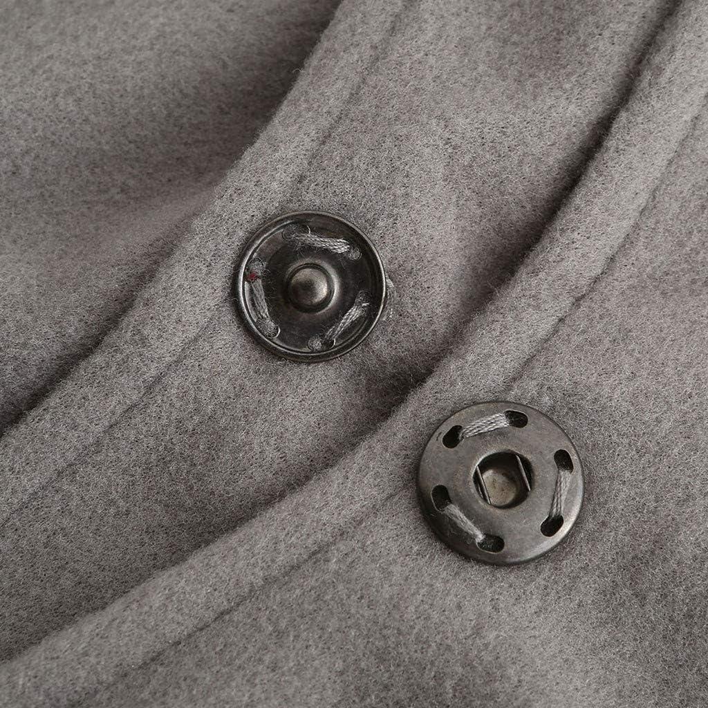 Damen Winter Faux Woolen Jacken Frauen Langen Mantel Trench Parka Damen Revers Overcoat Warm Outwear Grau