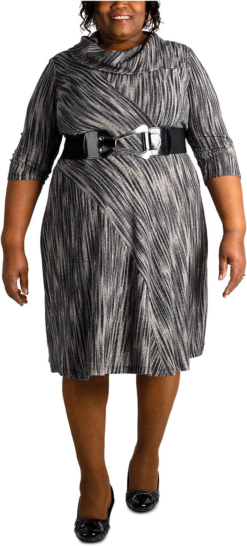 ROBBIE BEE Womens Gray 3/4 Sleeve Knee Length Sheath Wear to Work Dress Size 3X