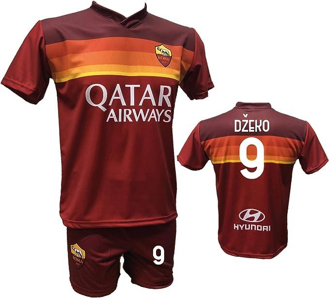 Completo Calcio Maglia Roma Dzeko 9 Pantaloncino Stampato con Numero 9 Replica Autorizzata 2020-2021 Bambino (Taglie 2 4 6 8 10 12) Adulto (SML XL)