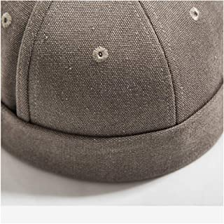 2018 Men and Women Cotton Beret Cap Country Tide Chinese Style Solid Color Casual Wild Dome Short Edge Hat Cuffed Hat Tide Card` TuanTuan (Color : Brown, Size : 56-60CM)
