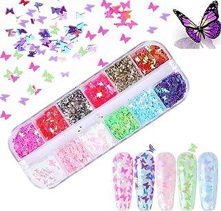 Kalolary 1Pcs Vlinder Nagel pailletten, Holografische Glitter nagel pailletten DIY Manicure Nagel Art Tips (D)
