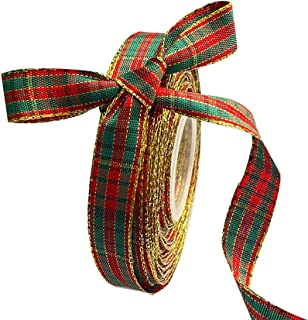 Kerst Geruite Jute Lint, 25 Meter Spoel Met Gelaagde Gouden Rand, Stoffen Lint Voor Kerst Ambachten Decoratie, Bloemen Bog...