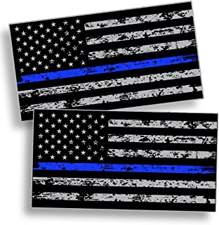 BLUE LINE American Flag Subdued Distressed Grunge Sticker Decal Lives Matter - Support Police