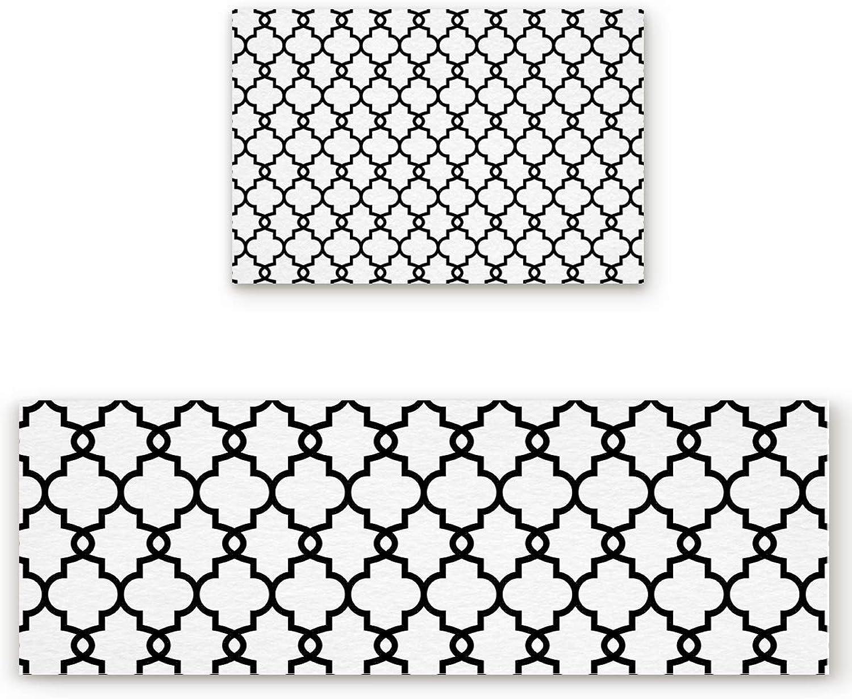 Savannan 2 Piece Non-Slip Kitchen Bathroom Entrance Mat Absorbent Durable Floor Doormat Runner Rug Set - Mgoldccan Lattice Pattern