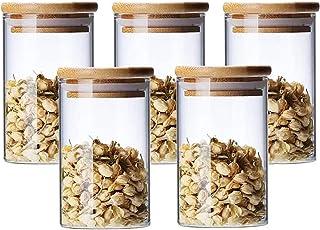 300ml Bocaux Conservation Verre, Lot de 5 Pot de Bocal en Verre avec Couvercle en Bambou et Rondelle en Silicone pour Épic...