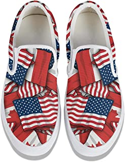 Womens Canada America Flag Canvas Sneakers Sports Wear Resistant Rubber Sole Stylish Sneakers Training Shoes