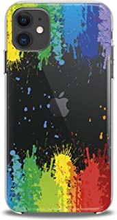 Cavka TPU Cover for Apple iPhone Case 11 Pro Xs Max X 8 Plus Xr 7 SE 6s 5 Paint Splashes Gift Flexible Colorful Green Design Print Red Soft Yellow Smooth Slim fit Teen Clear Girls Lightweight Blue