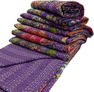 India Purple Kantha Quilt King Size Reversible Bedspread Handmade Cotton Floral Bedsheet Home Décor 106