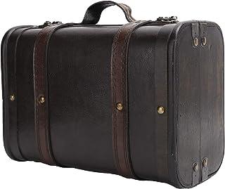 HERCHR Coffre de Rangement boîtes décoratives Coffre en Bois Valise rétro Style Vintage Bagages Valise boîte Studio décora...