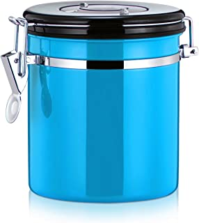 MyLifeUNIT Coffee Canister, Stainless Steel Coffee Bean Container Storage Canister, 4 Colors (Blue)