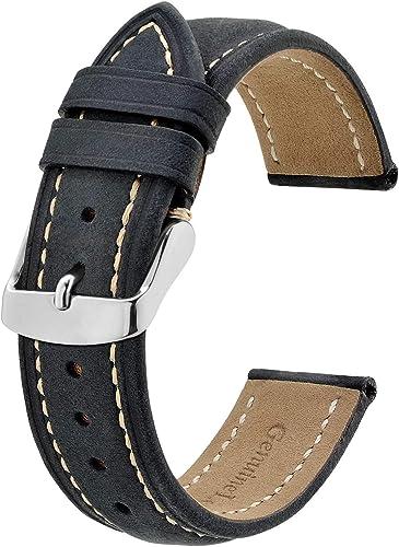 BISONSTRAP Correa de Reloj, Correa Piel de Cuero Vintage, Ancho de Banda: 14mm 15mm 16mm 17mm 18mm 19mm 20mm 21mm 22m...