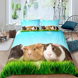 Girls Guinea Pig Bedding Set Cute Cavy Duvet Cover for Kids Boys Grassland Lovely Pet Animal Decor Comforter Cover Nature ...