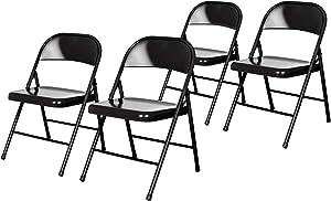 OEF Furnishings (4 Pack) Steel Folding Chairs, Black