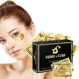 SWAN STAR 20 Pairs Under Eye Mask, Under Eye Patches, 24K Gold Eye Treatment Masks for Dark Circle, Puffy Eyes & Anti Wrinkle, Crystal Collagen Eye Gel Pads