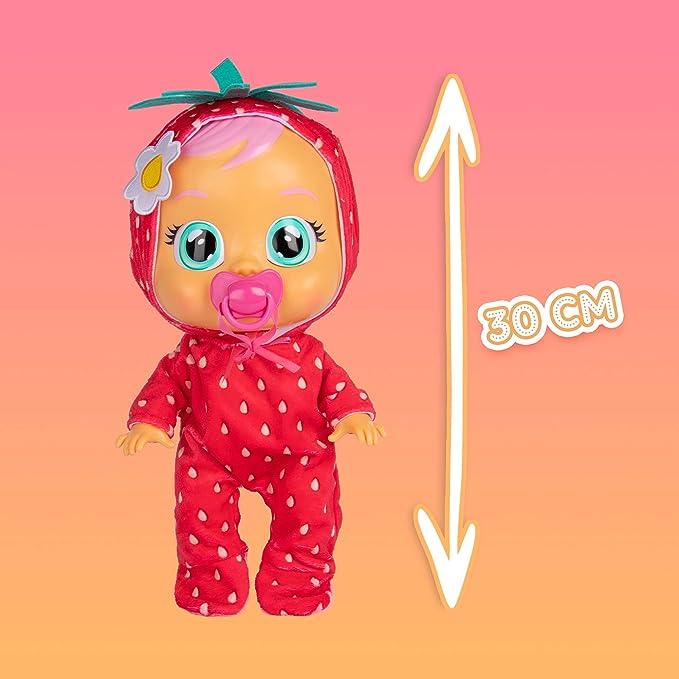 BEBÉS LLORONES Tutti Frutti Ella, la fresa Muñeca interactiva que llora de verdad con chupete y pijama con olor a fruta, muñeco para niñas y niños +18 ...