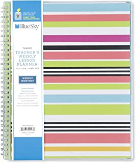 Blue Sky 2018-2019 Academic Year Teachers Weekly & Monthly Lesson Planner, Flexible Cover, Twin-Wire Binding, 8.5
