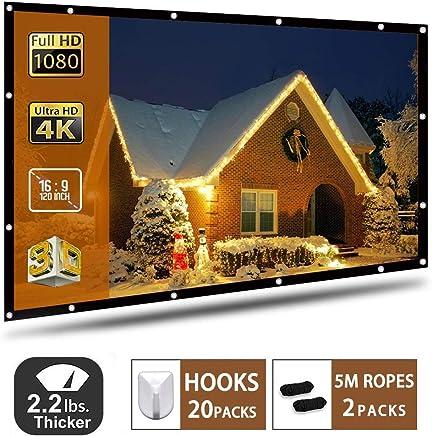 Pantalla de proyector de Montaje en Pared/portátil proyector de Pantalla HD 16: 9 Color Blanco 120 Pulgadas en Diagonal Proyección de la Pantalla