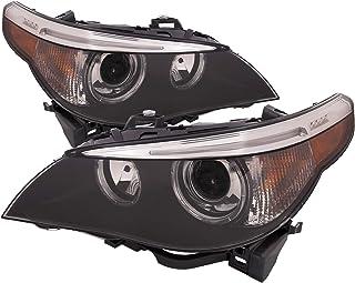 PERDE Headlights Set HID w/Perf Lens w/o Auto Adjust Lamps Compatible with 2004-2007 E60 BMW 5 Series Sedan 525i,530i/ 2004-2005 545i