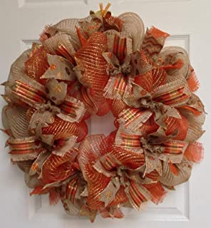 New! Full! Premium Handmade Harvest Deco Mesh Ribbon Wreath, Large 24 Inches