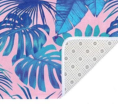EGGDIOQ Doormats Tropical Leaf Pattern Custom Print Bathroom Mat Waterproof Fabric Kitchen Entrance Rug, 23.6 x 15.7in