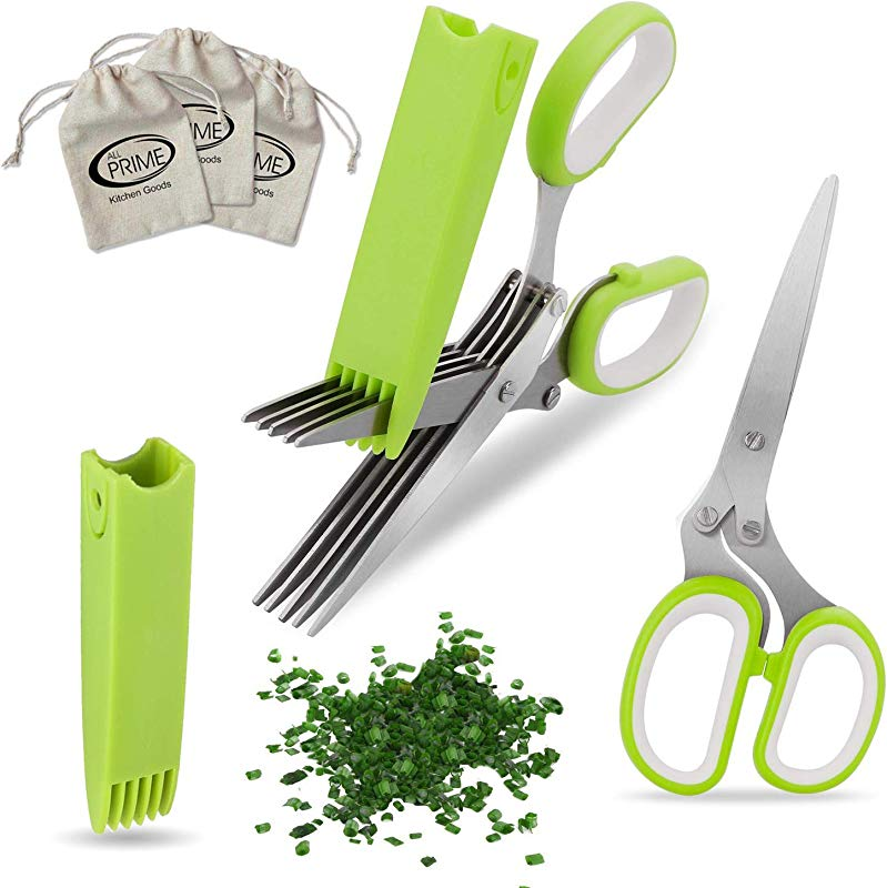 All Prime Herb Scissors Also Included 3 FREE Herb Pouches 6 Value Multipurpose 5 Blade Stainless Steel Shears Protective Guard Cover Blade Cleaner