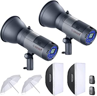 Neewer 600W Battery Powered Outdoor Studio Flash Strobe Lighting Kit:(2)VISION4 Monolight with 2.4G System,(2)Translucent White Umbrella,(2)Rectangular Softbox for Video Shooting Location Photography