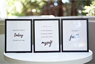 """Framed Motivational Wall Art 8 x 10"""", Set of 3 Positive Affirmations Wall Decor Quotes Wall Art Minimalist, Black and Whit..."""