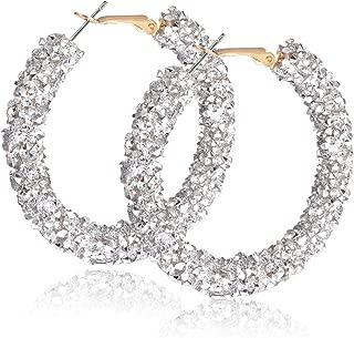Glitter Hoop Earrings Bohemian Sparkle Resin Rhinestone Wrapped Hoop Dangle Earrings for Women Girls