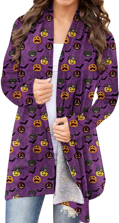 Womens Halloween Funny Cute Pumpkin Ghost Graphic Tops Long Sleeve Open Front Cardigan Blouse Lightweight Coat