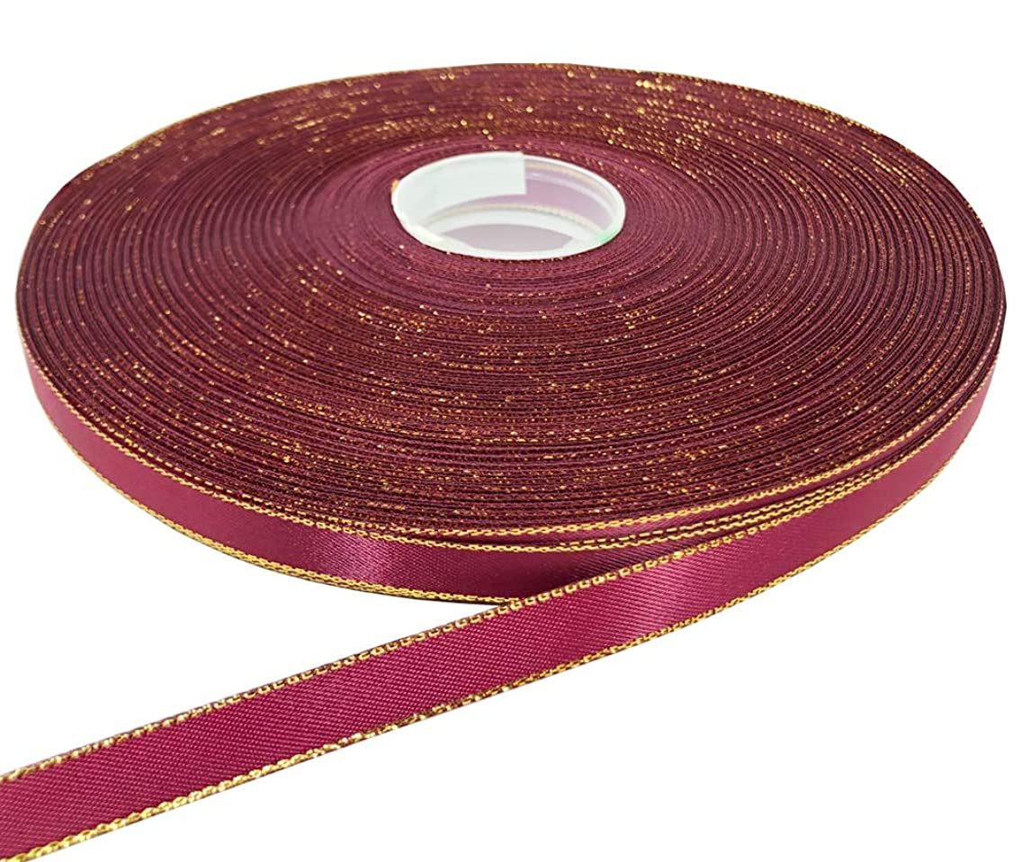 PartyMart 3/8 inch Satin Ribbon with Golden Edges, 100 YD, Wine