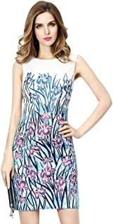 Women's Sleeveless Embroidered Floral Sheath Cocktail Dress