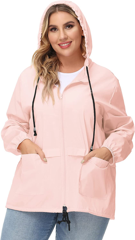 Avoogue Plus Size Raincoat Women Waterproof Rain Jacket Packable Outdoor Hooded Windbreaker