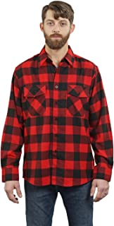 YAGO Men's Outdoor Long Sleeve Flannel Plaid Button Down Shirt