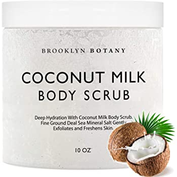 Brooklyn Botany Coconut Milk Body Scrub 10 oz - Made With Dead Sea Salt and Essential Oils - Anti Cellulite, Stretch Marks, and Varicose Veins - 10 oz