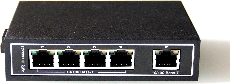 WIWAV WDH-5ET-DC 10/100Mbps Switches Ethernet industriales de 5 Puertos no administrados con riel DIN/Montaje en Pared (Certificación UL, sin Ventilador, -30°C ~ 75°C)