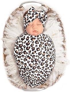 نوزاد پتو با پتو با هدبند با طرح چاپ پلنگ برای نوزادان با استفاده از پتو دریافت می کند