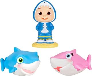 "Cocomelon Official Bath Squirters, Featuring JJ Character Toy (4"" Tall) and 2 Sharks (4"" Wide), Bath Time Fun Playset - Ch..."