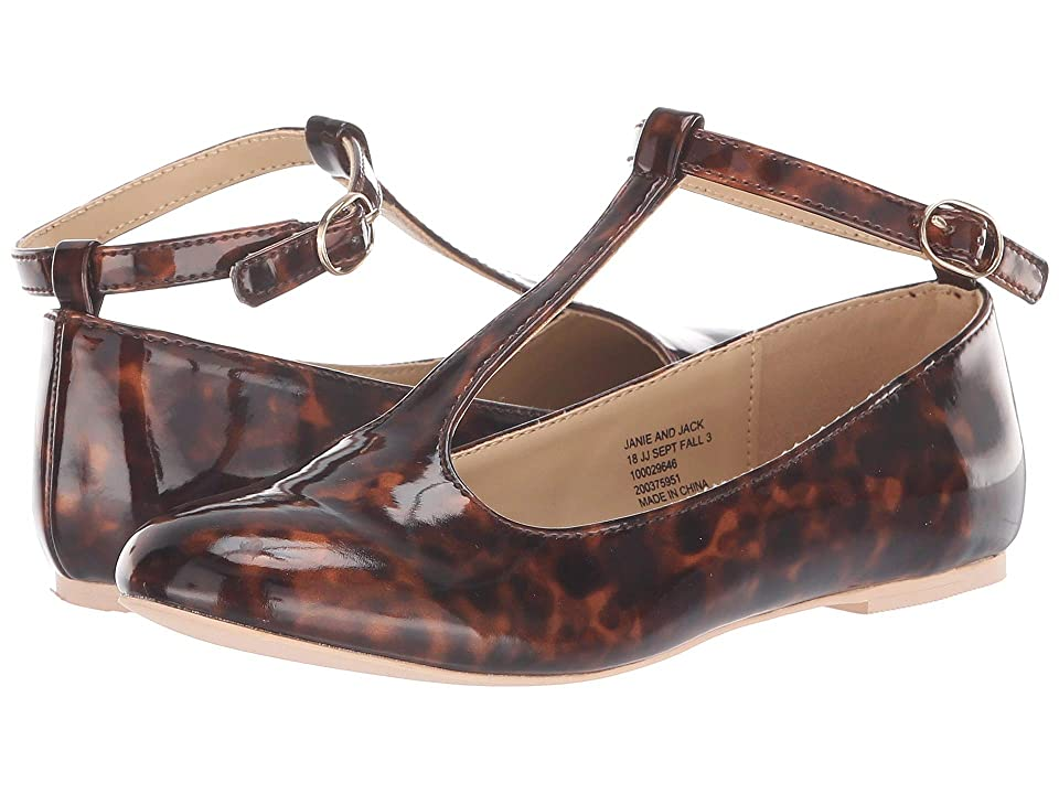 Janie and Jack T-Strap Flat (Toddler/Little Kid/Big Kid) (Cheetah Print) Girls Shoes
