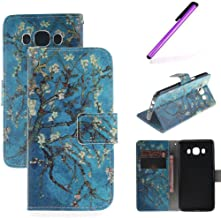 J7 Case,Galaxy J7 2015 Case,LEECOCO Fancy Print Floral Pattern Wallet Case with Card / Cash Slots [Kickstand] PU Leather Folio Flip Protective Case for Samsung Galaxy J7 2015 Apricot Tree TX
