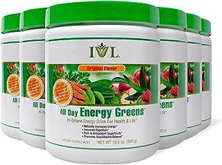 IVL Hi-Octane All Day Healthy Energy Greens Powder, 30 Servings per Canister, Original Flavor (Pack of 6)