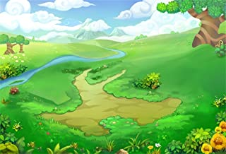 CSFOTO 8x6ft Background for Spring Green Meadow Photography Backdrop Cartoon Summer Grassland River Florets Hill Country Rural Clouds Child Kid Baby Portrait Photo Studio Props Vinyl Wallpaper