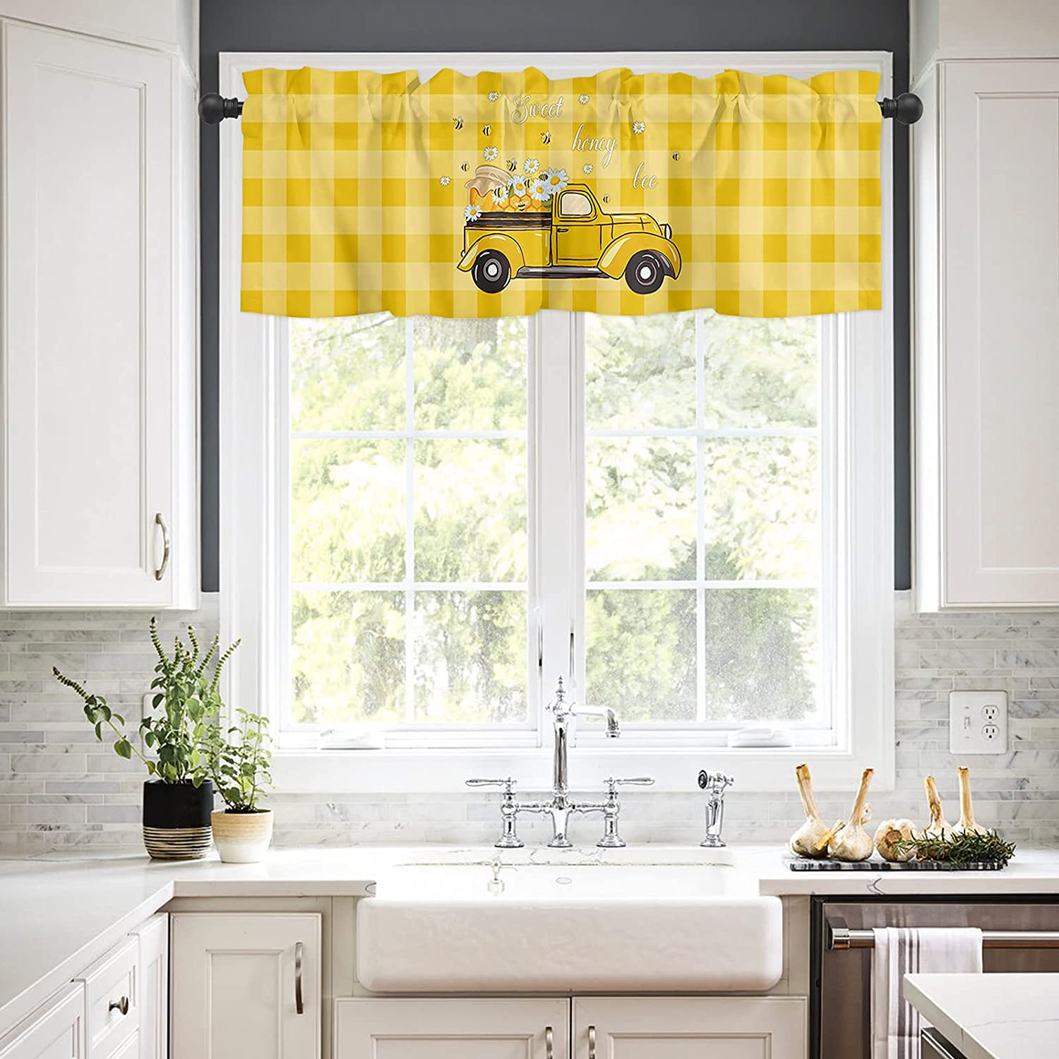 Rod Pocket Window Valances Curtains Bee Happy Ranking TOP6 Kitchen for Import Sweet