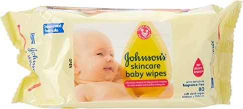 Johnson's Baby Wipes Skincare Fragrance Free (Pack of 6x80)
