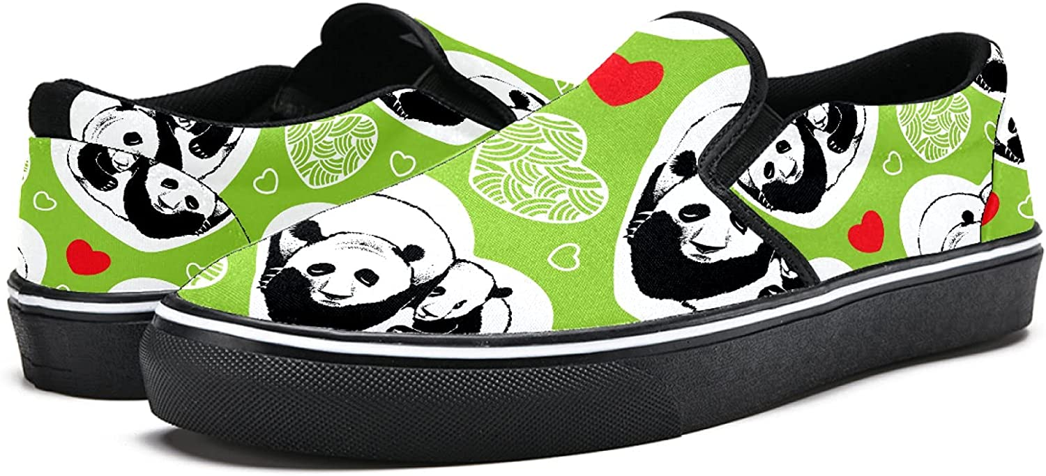 Men's Classic Slip-on Canvas Shoe Fashion Sneaker Casual Walking Shoes Loafers 5.5 Sleeping Pandas and Hearts