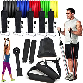 Nhopeew 11pcs/Set Premium Resistance Bands Set, Home Workout Bands with Door Anchor, Handles and Ankle Straps, Stackable U...