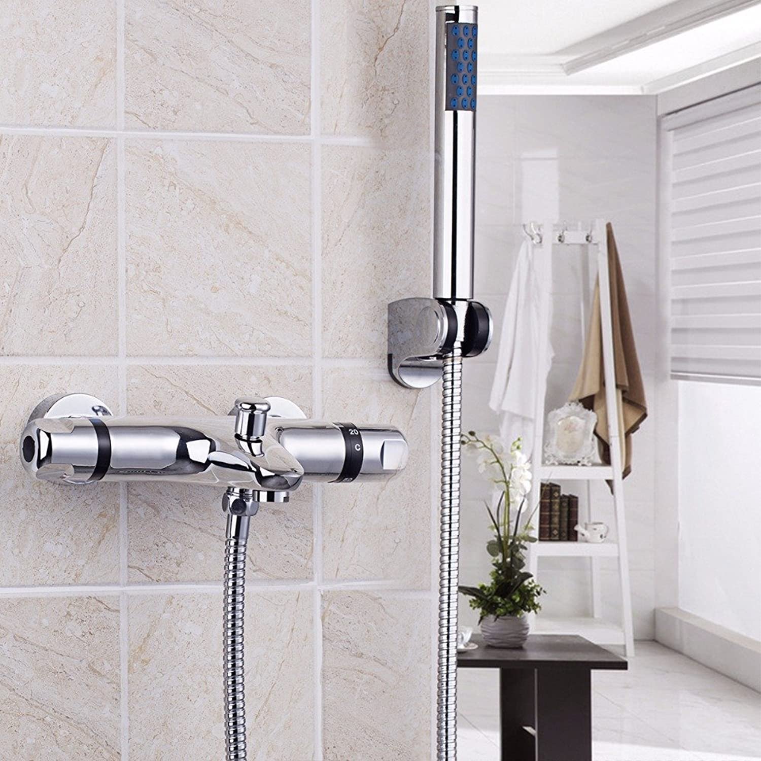 Bathroom Shower Faucet Set Bathroom Thermostatic Faucet Chrome Finish Mixer Tap Handheld Shower Wall Mounted Faucets&Tap