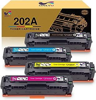 ONLYU Compatible Toner Cartridge HP CF500A 202A Replacement for HP Laserjet Pro MFP M281fdw M254DW M281cdw M281DW M254DN M254NW M280NW M254 M281(Black Cyan Magenta Yellow, 4-Pack)