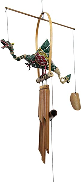 Cohasset Gifts 177 Cohasset Green Dragon Bobbing Head Bamboo Wind Chime Bird Bamboo Chime Garden Outdoor