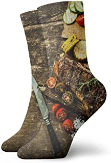 AEMAPE, Food On Marrón Mesa de madera Cojín Calcetines deportivos Essential Sport Wicking Work para hombres y mujeres